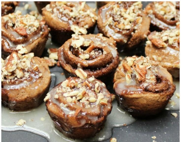 Grain Free Cinnamon Rolls with Honey Pecan Drizzle