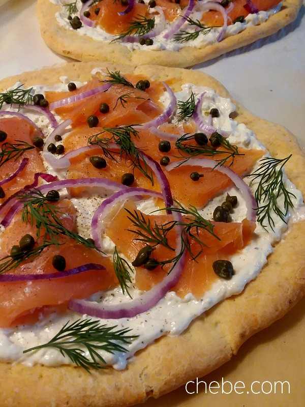 Chebe Bagels and Lox Pizza