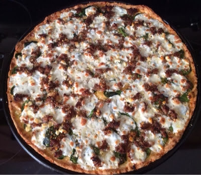 Gluten Free Sausage and Spinach Pizza