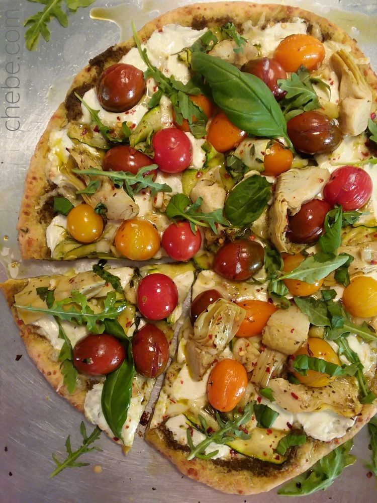 Heirloom Cherry Tomato, Artichoke and Pesto Pizza