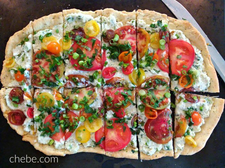 Heirloom Tomato on Ricotta Flatbread
