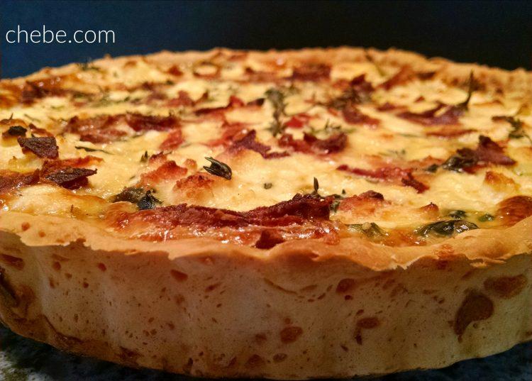 Gluten Free Spinach Quiche with Bacon, Feta and Tomato