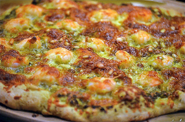Chebe Shrimp, Pesto, and Pine Nut Pizza