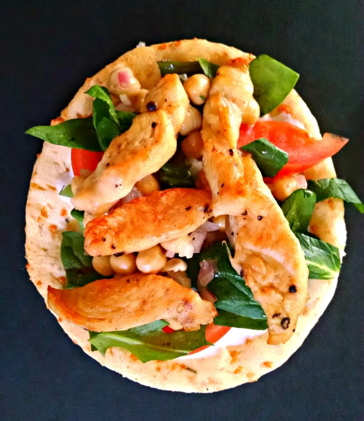 Chicken Pita with Garbanzo and Greens