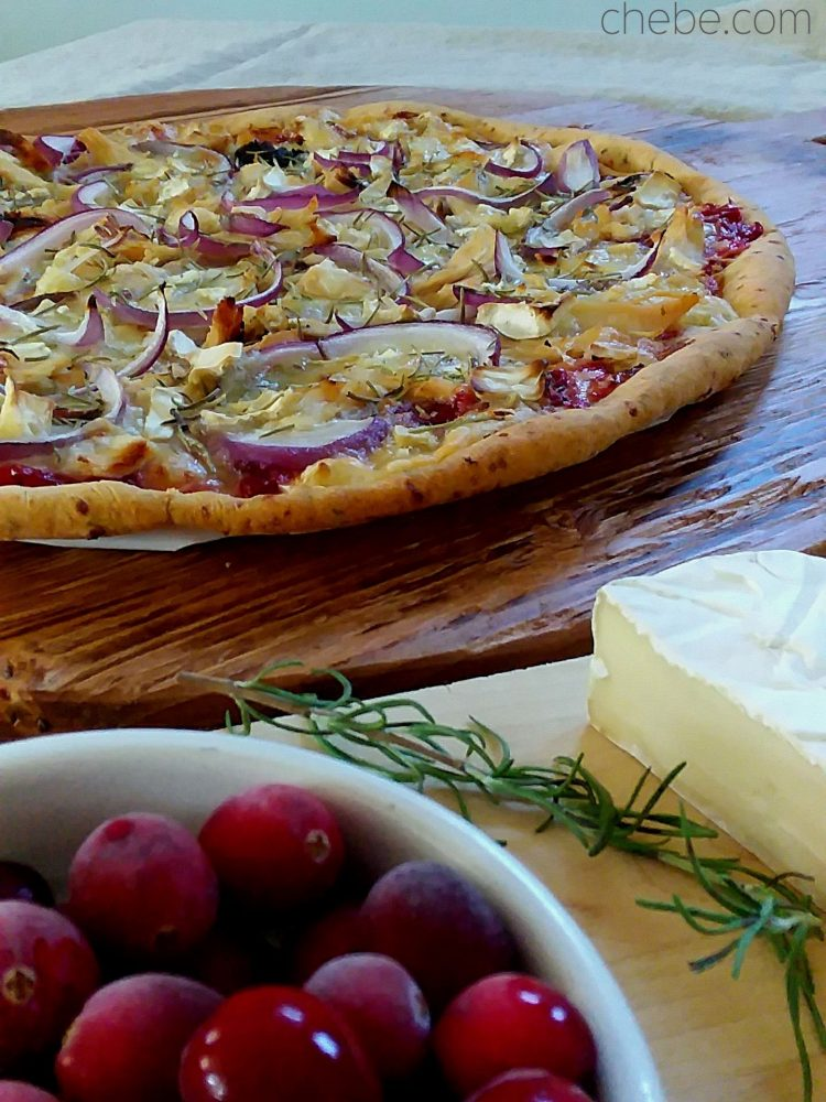 Grain Free Turkey, Cranberry and Brie Pizza